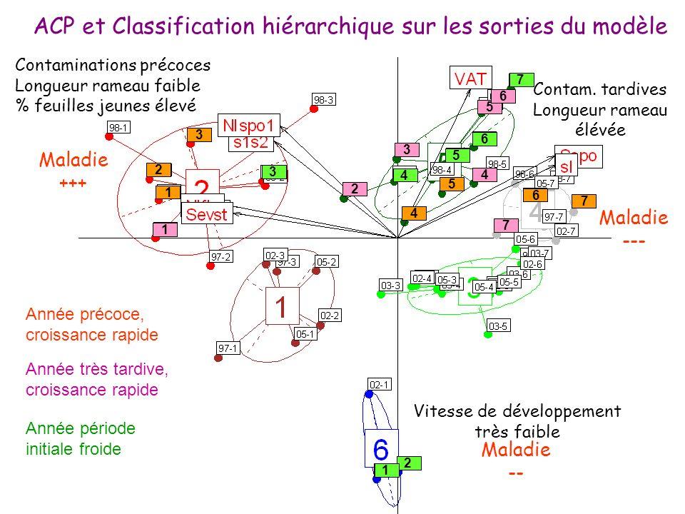 ACP et Classification hiérarchique sur les sorties du modèle Contaminations précoces Longueur rameau faible % feuilles jeunes élevé Maladie +++ Contam