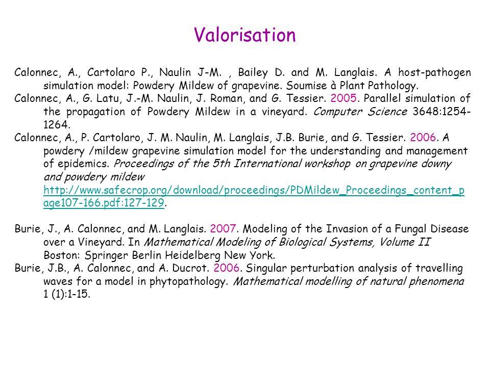 Valorisation Calonnec, A., Cartolaro P., Naulin J-M., Bailey D. and M. Langlais. A host-pathogen simulation model: Powdery Mildew of grapevine. Soumis
