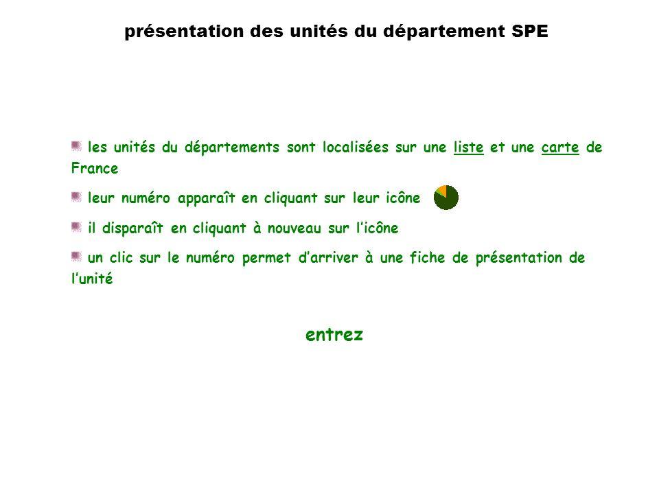 introduction les unités du départements sont localisées sur une liste et une carte de Francelistecarte leur numéro apparaît en cliquant sur leur icône