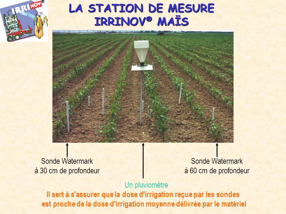 LA STATION DE MESURE IRRINOV ® MAÏS Sonde Watermark à 30 cm de profondeur Sonde Watermark à 60 cm de profondeur Un pluviomètre Il sert à s assurer que la dose d irrigation reçue par les sondes est proche de la dose d irrigation moyenne délivrée par le matériel