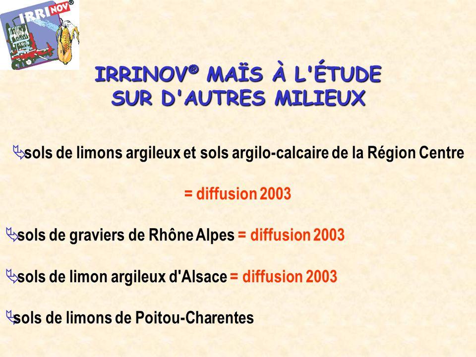 sols de limons argileux et sols argilo-calcaire de la Région Centre = diffusion 2003 sols de graviers de Rhône Alpes = diffusion 2003 sols de limon argileux d Alsace = diffusion 2003 sols de limons de Poitou-Charentes IRRINOV ® MAÏS À L ÉTUDE SUR D AUTRES MILIEUX