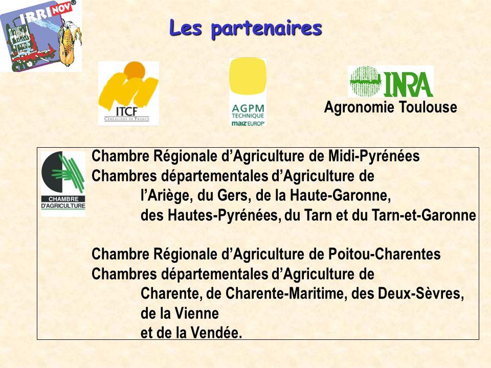 Les partenaires Agronomie Toulouse Chambre Régionale dAgriculture de Midi-Pyrénées Chambres départementales dAgriculture de lAriège, du Gers, de la Haute-Garonne, des Hautes-Pyrénées, du Tarn et du Tarn-et-Garonne Chambre Régionale dAgriculture de Poitou-Charentes Chambres départementales dAgriculture de Charente, de Charente-Maritime, des Deux-Sèvres, de la Vienne et de la Vendée.