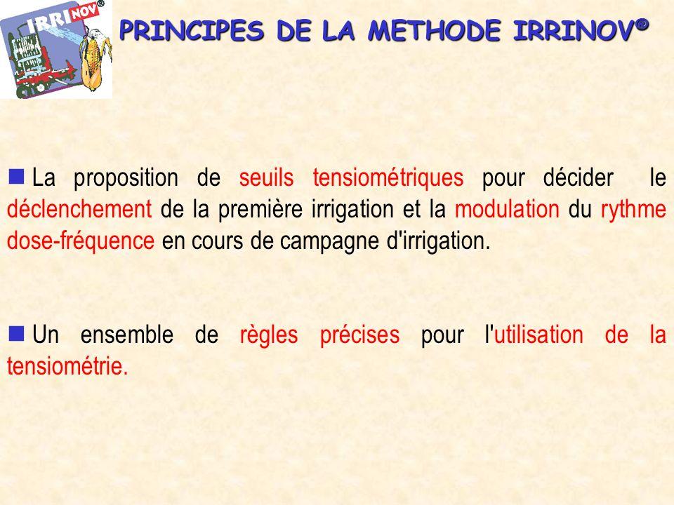 PRINCIPES DE LA METHODE IRRINOV ® La proposition de seuils tensiométriques pour décider le déclenchement de la première irrigation et la modulation du rythme dose-fréquence en cours de campagne d irrigation.