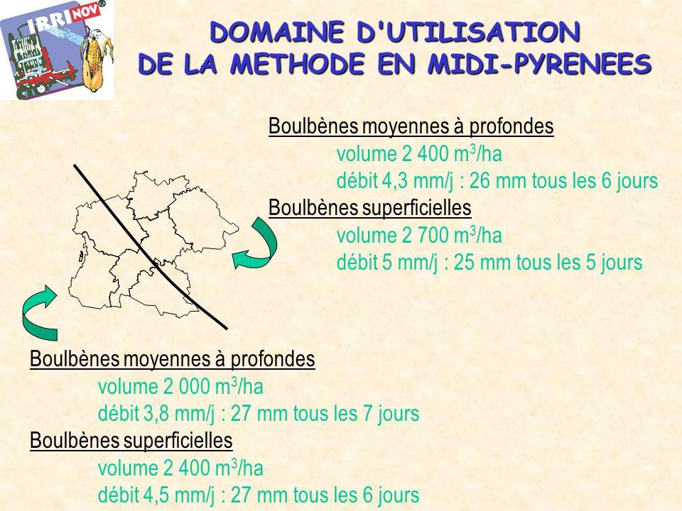 DOMAINE D UTILISATION DE LA METHODE EN MIDI-PYRENEES Boulbènes moyennes à profondes volume 2 400 m 3 /ha débit 4,3 mm/j : 26 mm tous les 6 jours Boulbènes superficielles volume 2 700 m 3 /ha débit 5 mm/j : 25 mm tous les 5 jours Boulbènes moyennes à profondes volume 2 000 m 3 /ha débit 3,8 mm/j : 27 mm tous les 7 jours Boulbènes superficielles volume 2 400 m 3 /ha débit 4,5 mm/j : 27 mm tous les 6 jours