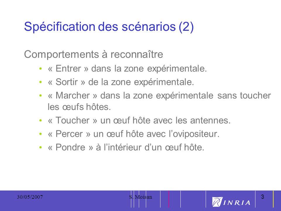 3 30/05/2007S. Moisan3 Spécification des scénarios (2) Comportements à reconnaître « Entrer » dans la zone expérimentale. « Sortir » de la zone expéri