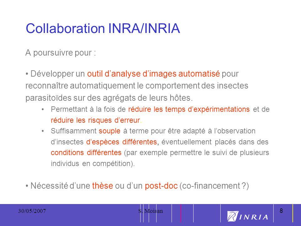 8 30/05/2007S. Moisan8 Collaboration INRA/INRIA A poursuivre pour : Développer un outil danalyse dimages automatisé pour reconnaître automatiquement l