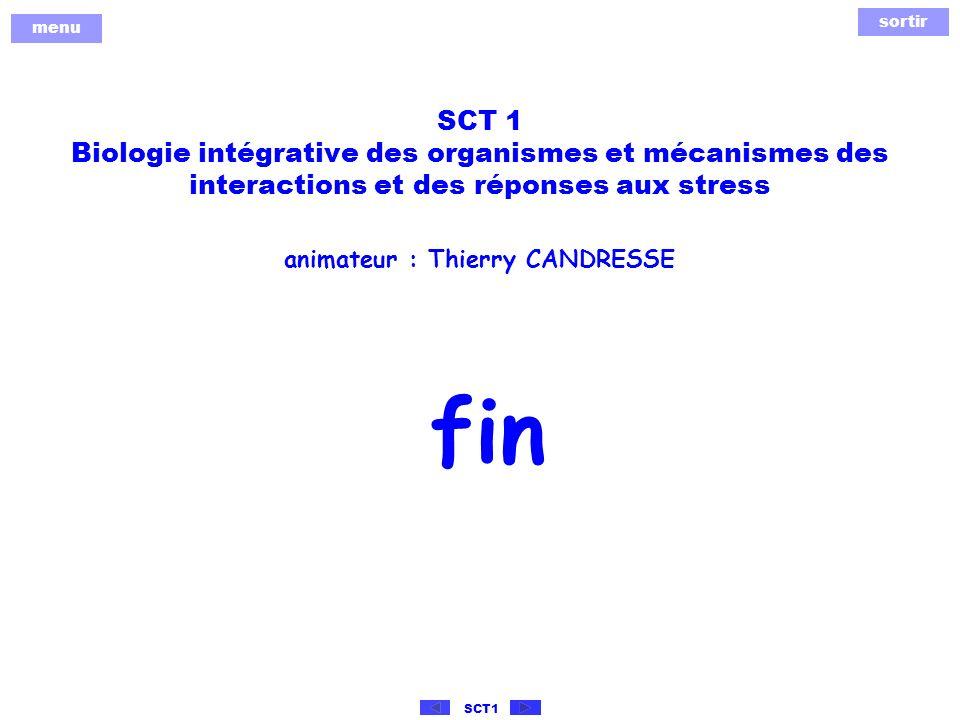 sortir menu SCT1 SCT 1 Biologie intégrative des organismes et mécanismes des interactions et des réponses aux stress animateur : Thierry CANDRESSE fin