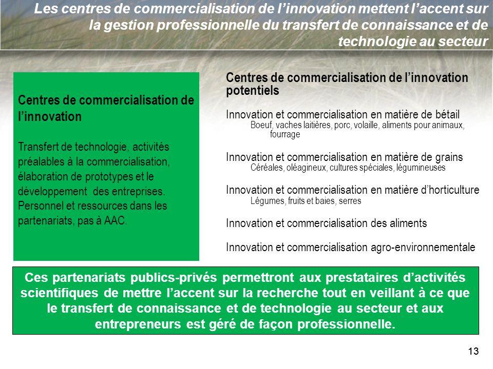 13 Les centres de commercialisation de linnovation mettent laccent sur la gestion professionnelle du transfert de connaissance et de technologie au se