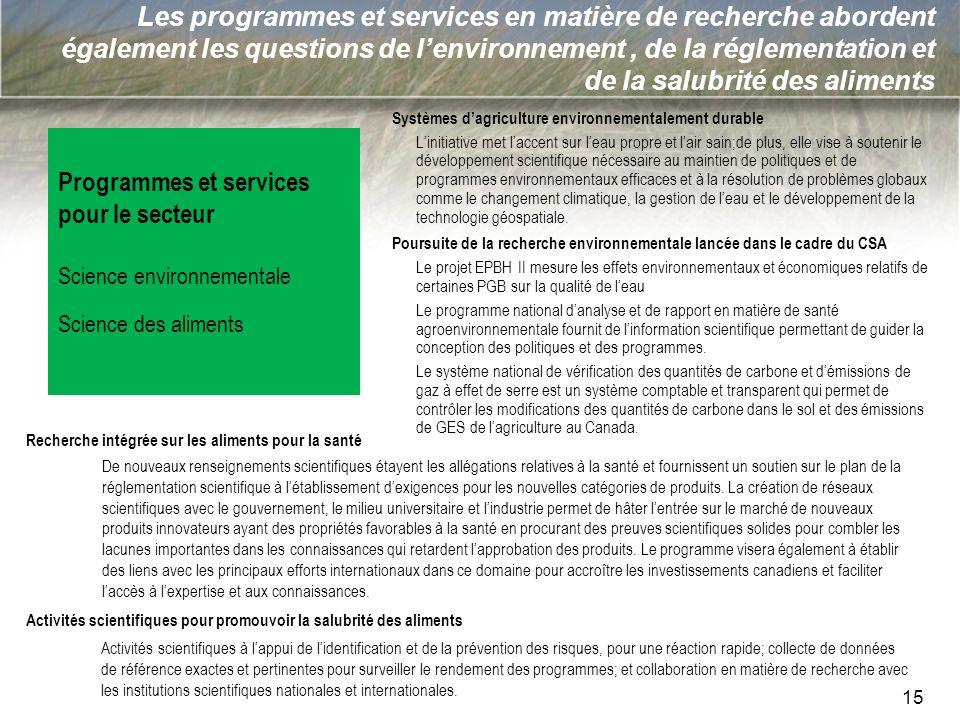 15 Les programmes et services en matière de recherche abordent également les questions de lenvironnement, de la réglementation et de la salubrité des
