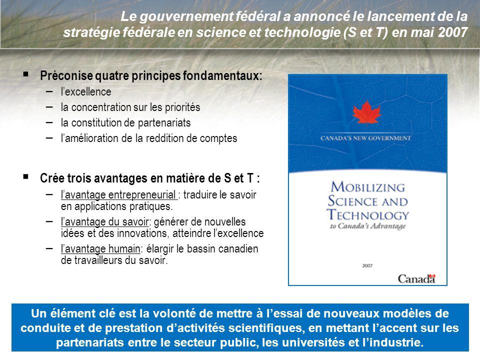 3 Le gouvernement fédéral a annoncé le lancement de la stratégie fédérale en science et technologie (S et T) en mai 2007 Préconise quatre principes fo