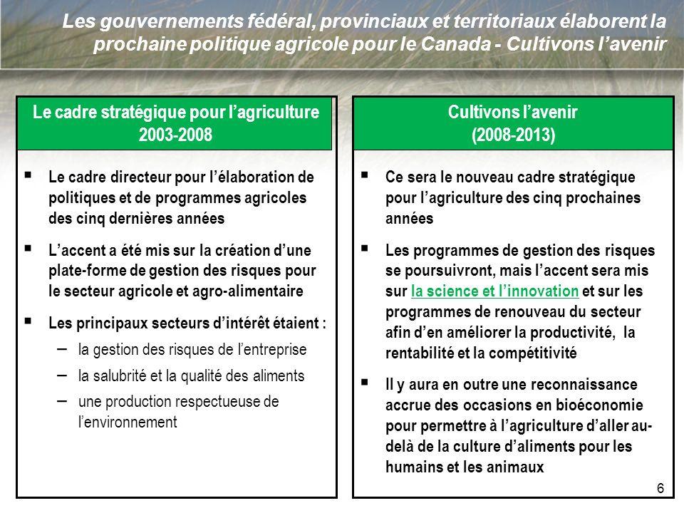 Les gouvernements fédéral, provinciaux et territoriaux élaborent la prochaine politique agricole pour le Canada - Cultivons lavenir Le cadre stratégiq
