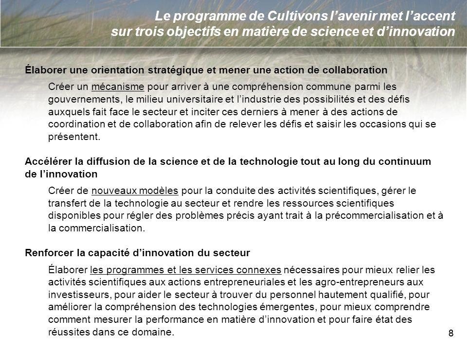 8 8 Le programme de Cultivons lavenir met laccent sur trois objectifs en matière de science et dinnovation Élaborer une orientation stratégique et men