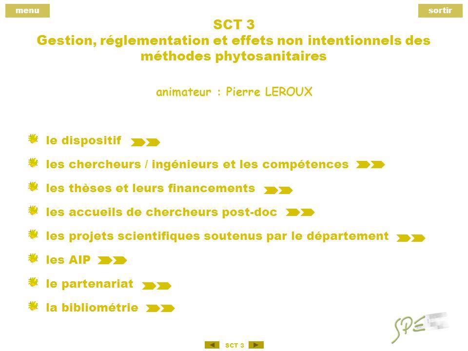 menusortir SCT 3 SCT 3 Gestion, réglementation et effets non intentionnels des méthodes phytosanitaires le dispositif les chercheurs / ingénieurs et les compétences les thèses et leurs financements les accueils de chercheurs post-doc les projets scientifiques soutenus par le département les AIP le partenariat la bibliométrie animateur : Pierre LEROUX