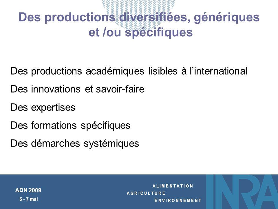 A L I M E N T A T I O N A G R I C U L T U R E E N V I R O N N E M E N T ADN 2009 5 - 7 mai Des productions diversifiées, génériques et /ou spécifiques