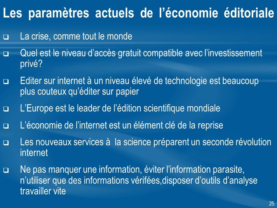 25 Les paramètres actuels de léconomie éditoriale La crise, comme tout le monde Quel est le niveau daccès gratuit compatible avec linvestissement privé.