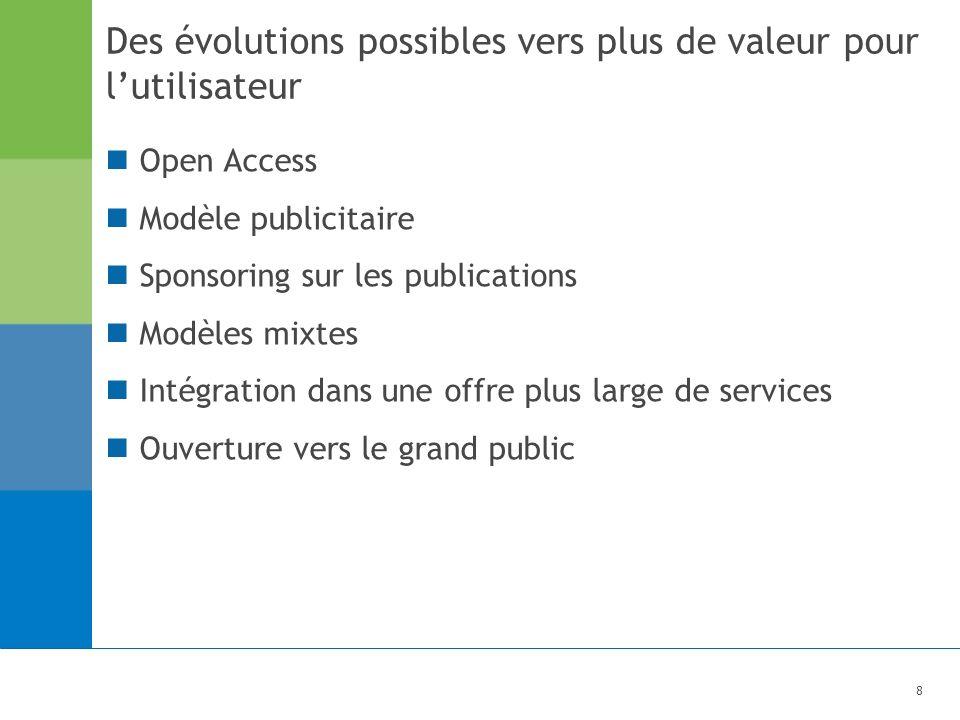 8 Des évolutions possibles vers plus de valeur pour lutilisateur Open Access Modèle publicitaire Sponsoring sur les publications Modèles mixtes Intégration dans une offre plus large de services Ouverture vers le grand public