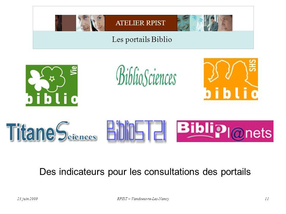 ATELIER RPIST 23 juin 2009RPIST – Vandoeuvre-Les-Nancy11 Des indicateurs pour les consultations des portails Les portails Biblio