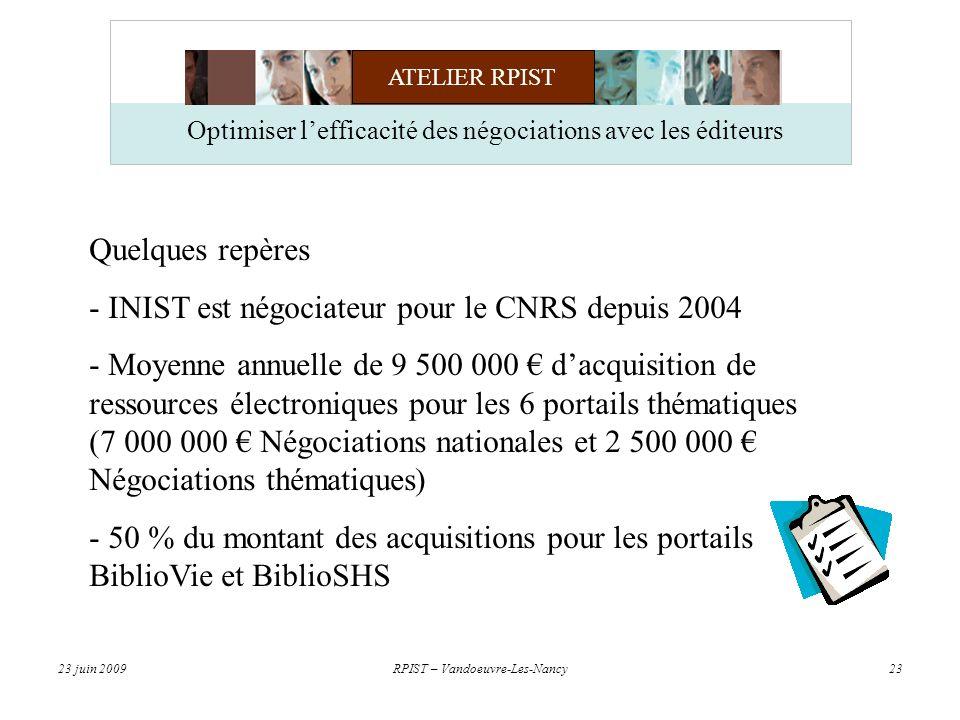ATELIER RPIST 23 juin 2009RPIST – Vandoeuvre-Les-Nancy23 Optimiser lefficacité des négociations avec les éditeurs Quelques repères - INIST est négociateur pour le CNRS depuis 2004 - Moyenne annuelle de 9 500 000 dacquisition de ressources électroniques pour les 6 portails thématiques (7 000 000 Négociations nationales et 2 500 000 Négociations thématiques) - 50 % du montant des acquisitions pour les portails BiblioVie et BiblioSHS