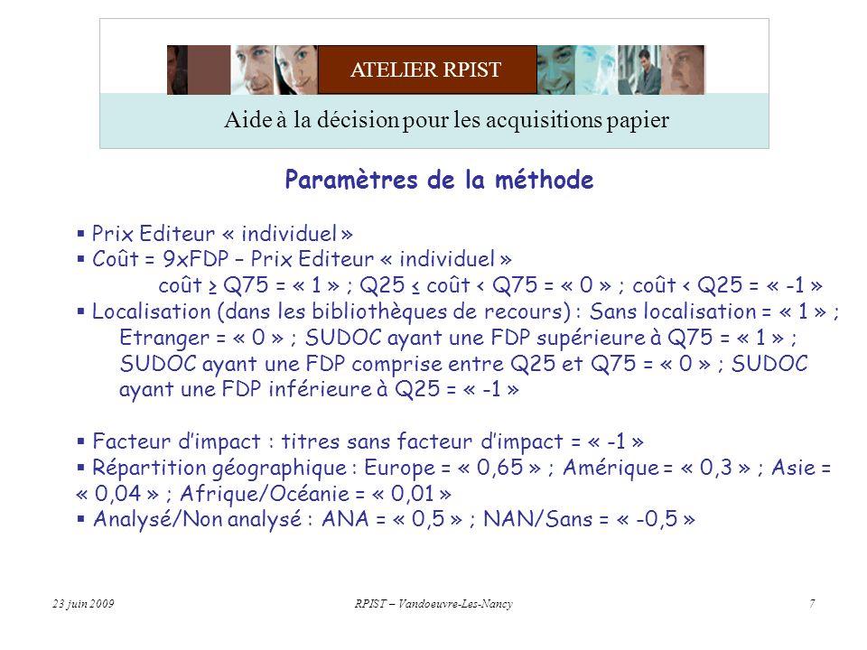 ATELIER RPIST 23 juin 2009RPIST – Vandoeuvre-Les-Nancy7 Aide à la décision pour les acquisitions papier Paramètres de la méthode Prix Editeur « individuel » Coût = 9xFDP – Prix Editeur « individuel » coût Q75 = « 1 » ; Q25 coût < Q75 = « 0 » ; coût < Q25 = « -1 » Localisation (dans les bibliothèques de recours) : Sans localisation = « 1 » ; Etranger = « 0 » ; SUDOC ayant une FDP supérieure à Q75 = « 1 » ; SUDOC ayant une FDP comprise entre Q25 et Q75 = « 0 » ; SUDOC ayant une FDP inférieure à Q25 = « -1 » Facteur dimpact : titres sans facteur dimpact = « -1 » Répartition géographique : Europe = « 0,65 » ; Amérique = « 0,3 » ; Asie = « 0,04 » ; Afrique/Océanie = « 0,01 » Analysé/Non analysé : ANA = « 0,5 » ; NAN/Sans = « -0,5 »
