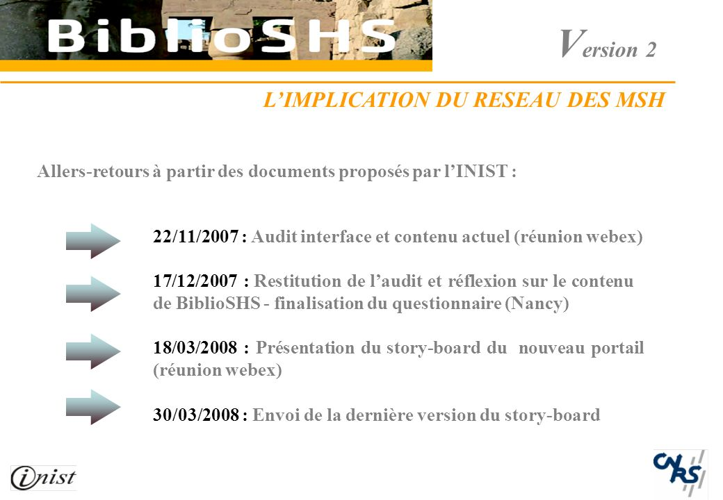 V ersion 2 Allers-retours à partir des documents proposés par lINIST : 22/11/2007 : Audit interface et contenu actuel (réunion webex) 17/12/2007 : Restitution de laudit et réflexion sur le contenu de BiblioSHS - finalisation du questionnaire (Nancy) 18/03/2008 : Présentation du story-board du nouveau portail (réunion webex) 30/03/2008 : Envoi de la dernière version du story-board LIMPLICATION DU RESEAU DES MSH