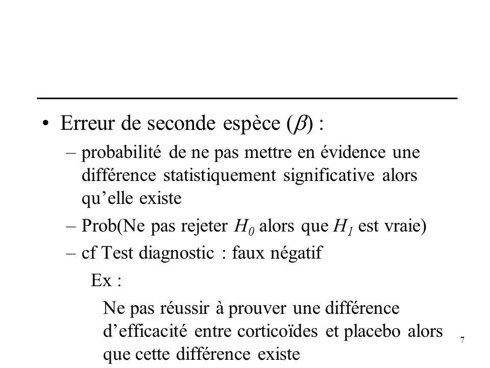 7 Erreur de seconde espèce ( ) : –probabilité de ne pas mettre en évidence une différence statistiquement significative alors quelle existe –Prob(Ne p