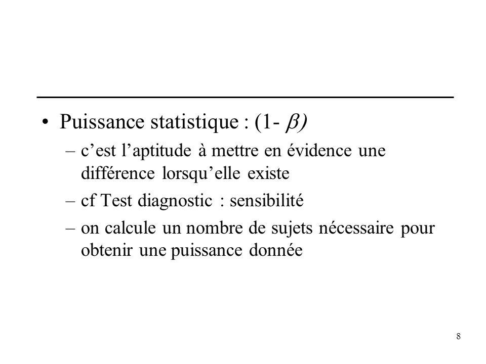 8 Puissance statistique : (1- –cest laptitude à mettre en évidence une différence lorsquelle existe –cf Test diagnostic : sensibilité –on calcule un n