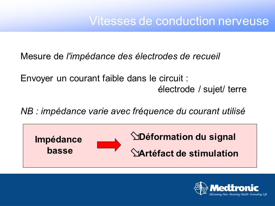 Mesure de l'impédance des électrodes de recueil Envoyer un courant faible dans le circuit : électrode / sujet/ terre NB : impédance varie avec fréquen