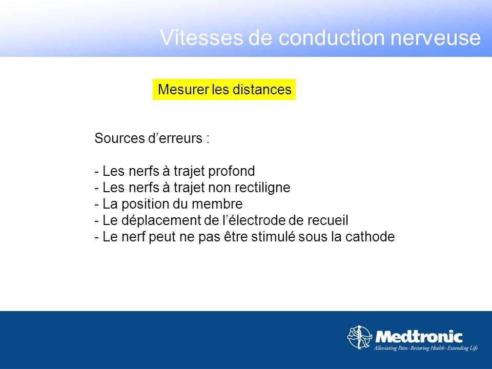 Mesurer les distances Sources derreurs : - Les nerfs à trajet profond - Les nerfs à trajet non rectiligne - La position du membre - Le déplacement de