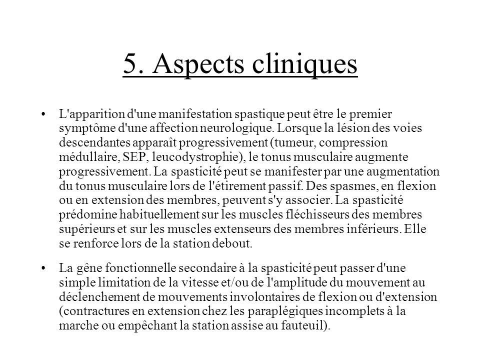 5. Aspects cliniques L'apparition d'une manifestation spastique peut être le premier symptôme d'une affection neurologique. Lorsque la lésion des voie