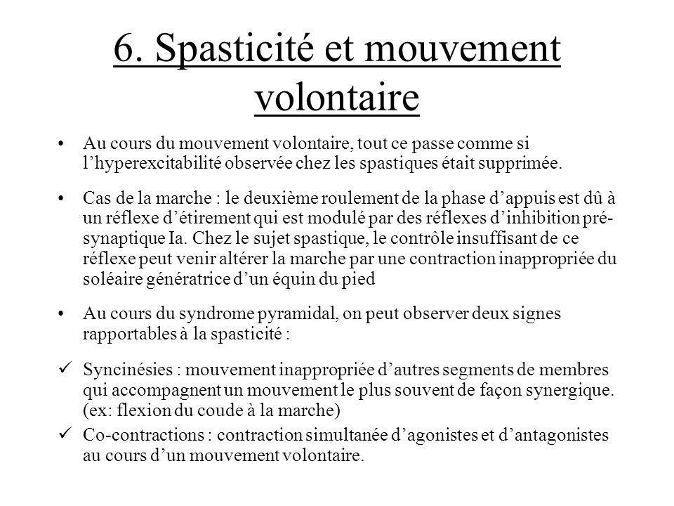 6. Spasticité et mouvement volontaire Au cours du mouvement volontaire, tout ce passe comme si lhyperexcitabilité observée chez les spastiques était s