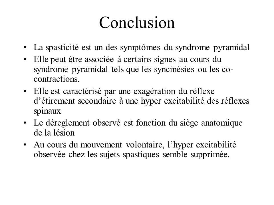 Conclusion La spasticité est un des symptômes du syndrome pyramidal Elle peut être associée à certains signes au cours du syndrome pyramidal tels que