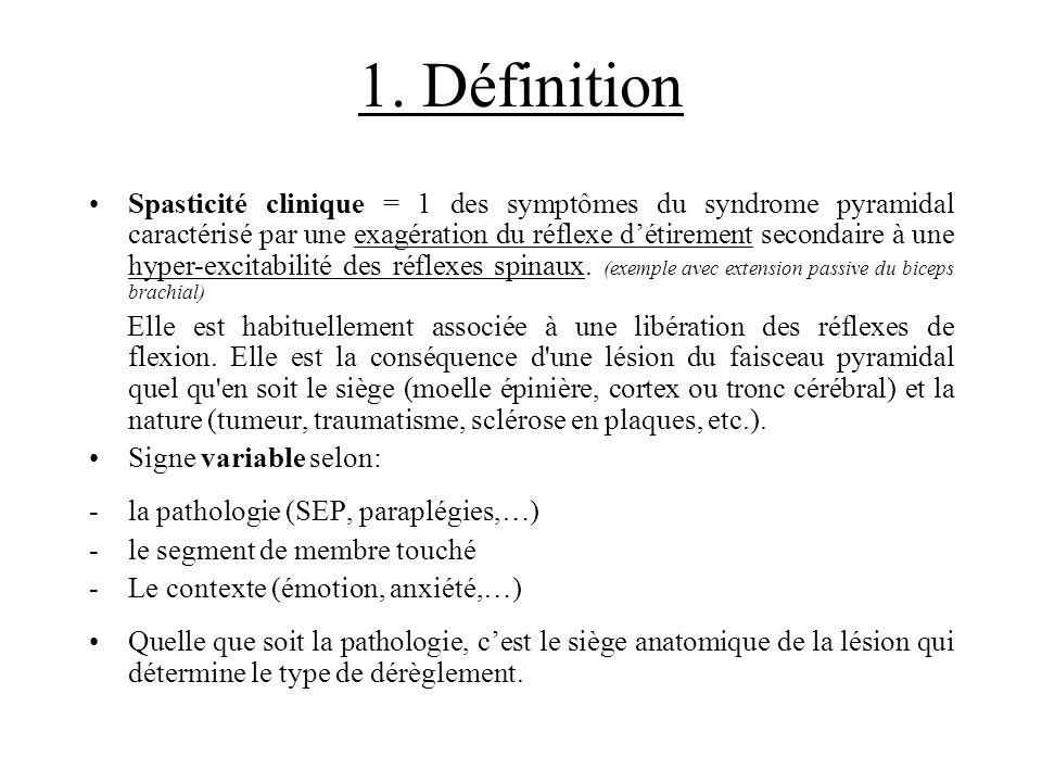 1. Définition Spasticité clinique = 1 des symptômes du syndrome pyramidal caractérisé par une exagération du réflexe détirement secondaire à une hyper