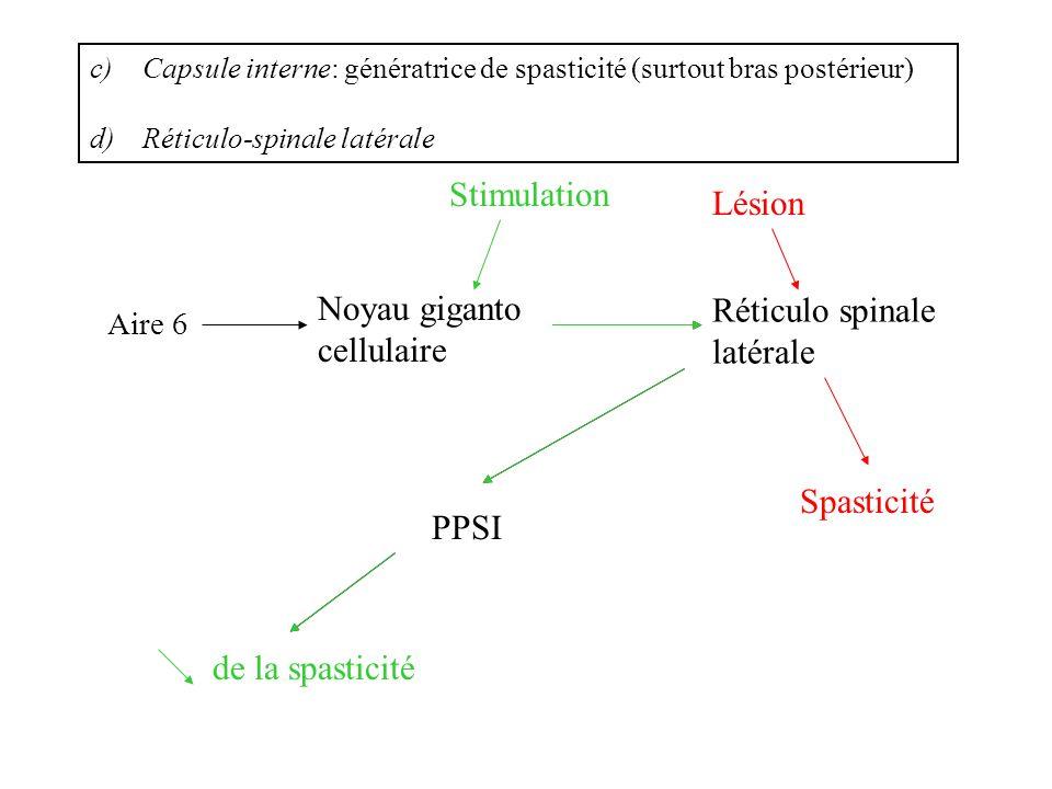 c)Capsule interne: génératrice de spasticité (surtout bras postérieur) d)Réticulo-spinale latérale Aire 6 Noyau giganto cellulaire Réticulo spinale la
