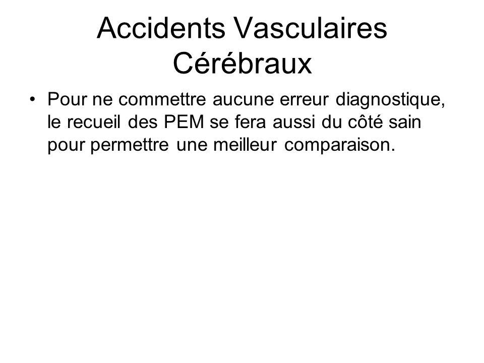 Accidents Vasculaires Cérébraux Pour ne commettre aucune erreur diagnostique, le recueil des PEM se fera aussi du côté sain pour permettre une meilleu