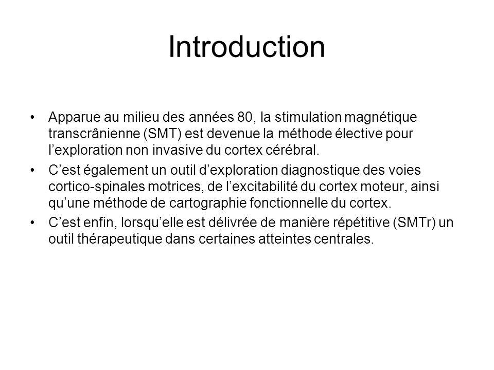 Introduction Apparue au milieu des années 80, la stimulation magnétique transcrânienne (SMT) est devenue la méthode élective pour lexploration non inv
