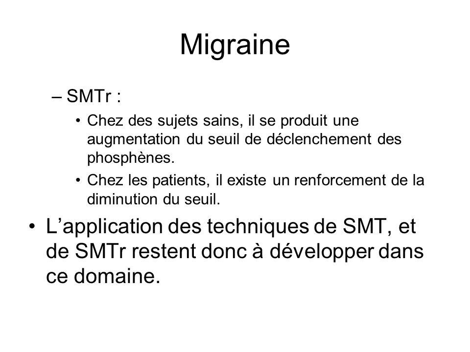 Migraine –SMTr : Chez des sujets sains, il se produit une augmentation du seuil de déclenchement des phosphènes. Chez les patients, il existe un renfo