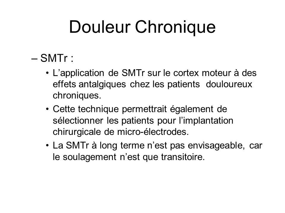 Douleur Chronique –SMTr : Lapplication de SMTr sur le cortex moteur à des effets antalgiques chez les patients douloureux chroniques. Cette technique