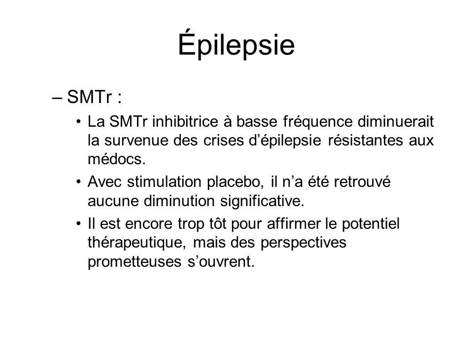 Épilepsie –SMTr : La SMTr inhibitrice à basse fréquence diminuerait la survenue des crises dépilepsie résistantes aux médocs. Avec stimulation placebo