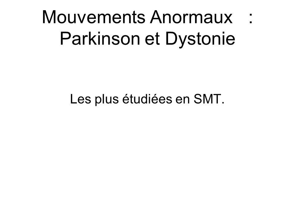 Mouvements Anormaux: Parkinson et Dystonie Les plus étudiées en SMT.
