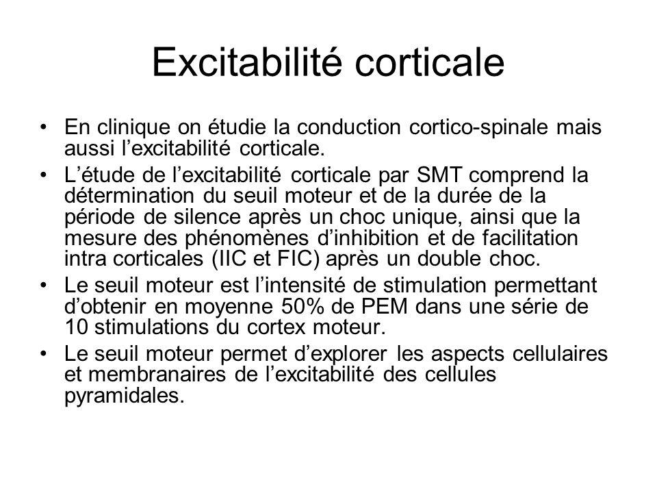 Excitabilité corticale En clinique on étudie la conduction cortico-spinale mais aussi lexcitabilité corticale. Létude de lexcitabilité corticale par S