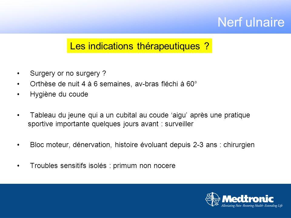 Les indications thérapeutiques ? Nerf ulnaire Surgery or no surgery ? Orthèse de nuit 4 à 6 semaines, av-bras fléchi à 60° Hygiène du coude Tableau du