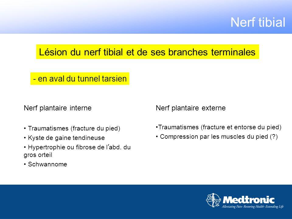 - en aval du tunnel tarsien Nerf plantaire interne Traumatismes (fracture du pied) Kyste de gaine tendineuse Hypertrophie ou fibrose de l abd. du gros