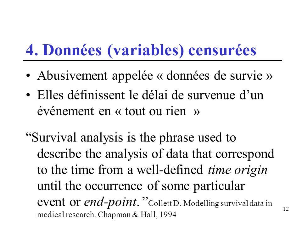 12 4. Données (variables) censurées Abusivement appelée « données de survie » Elles définissent le délai de survenue dun événement en « tout ou rien »