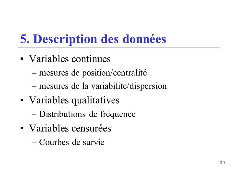 20 5. Description des données Variables continues –mesures de position/centralité –mesures de la variabilité/dispersion Variables qualitatives –Distri