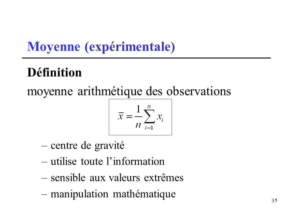 35 Moyenne (expérimentale) Définition moyenne arithmétique des observations –centre de gravité –utilise toute linformation –sensible aux valeurs extrê