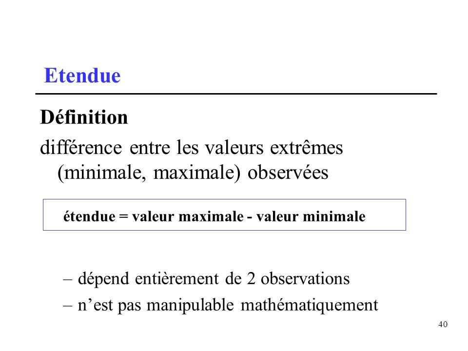 40 Etendue Définition différence entre les valeurs extrêmes (minimale, maximale) observées étendue = valeur maximale - valeur minimale –dépend entière