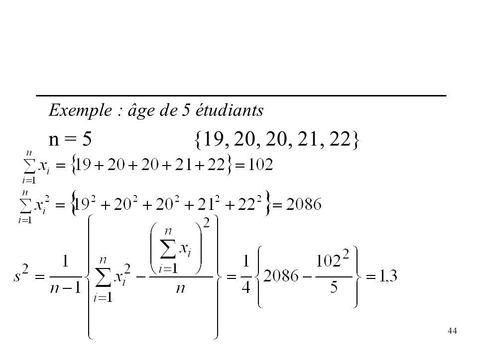 44 Exemple : âge de 5 étudiants n = 5{19, 20, 20, 21, 22}