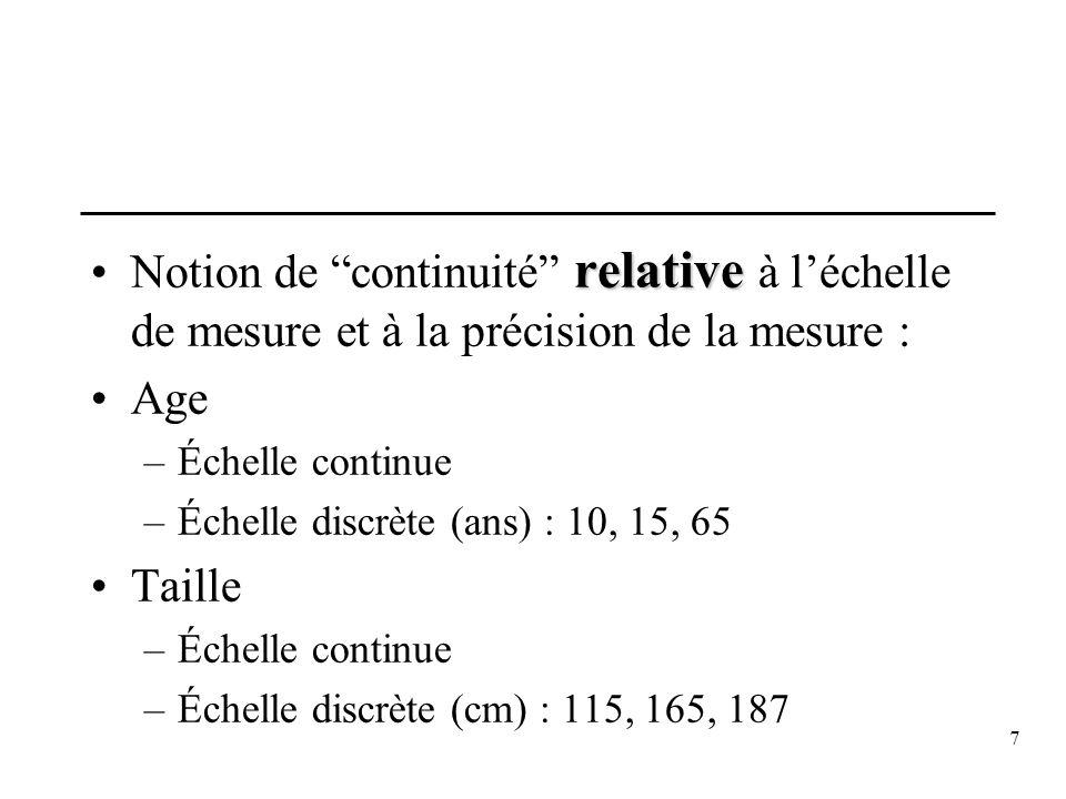 7 relativeNotion de continuité relative à léchelle de mesure et à la précision de la mesure : Age –Échelle continue –Échelle discrète (ans) : 10, 15,