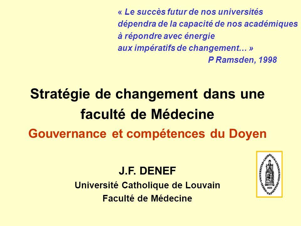 Stratégie de changement dans une faculté de Médecine Gouvernance et compétences du Doyen J.F.