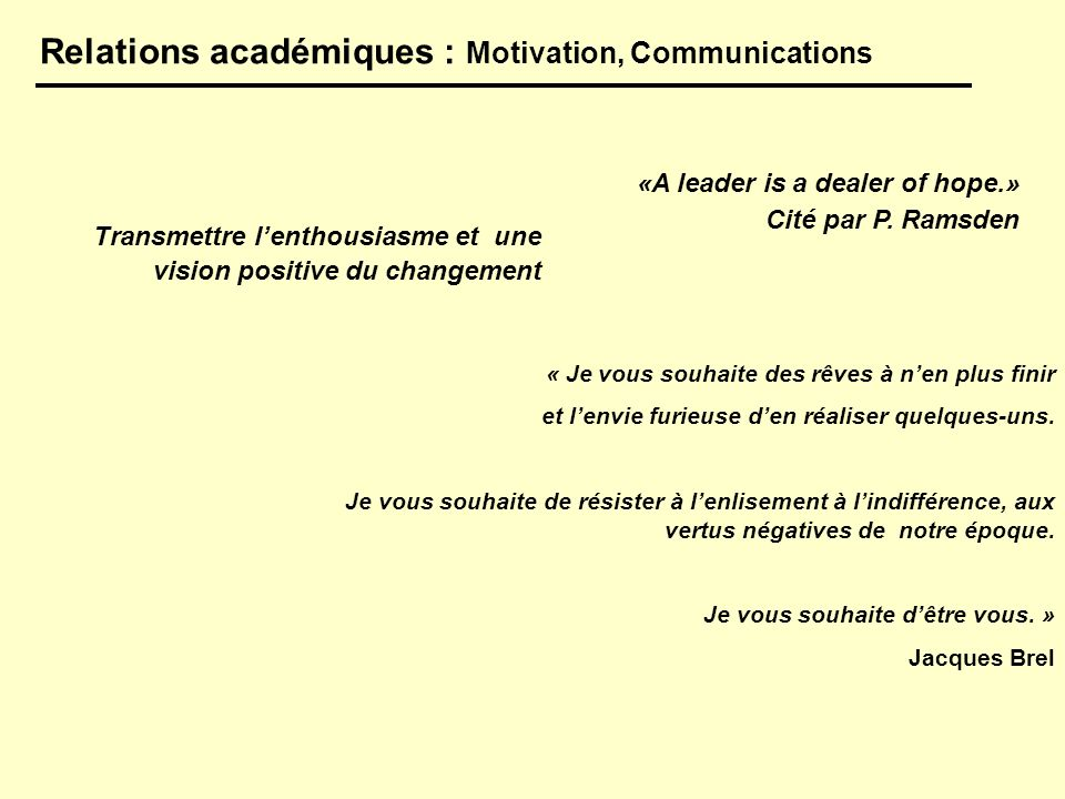 «A leader is a dealer of hope.» Cité par P. Ramsden Relations académiques : Motivation, Communications Transmettre lenthousiasme et une vision positiv
